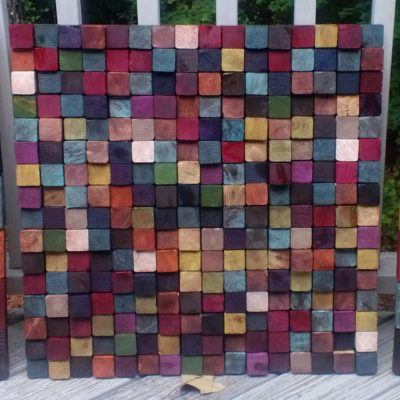 "Conference Room Art  This triptych is made of 2x2s and 4x4s sliced into uneven pieces (1/2""-1 1/4""), painted, stained, and wood glued to 1/4"" pieces of luan. The whole piece was then stained with a mix of stain and hand rubbed poly."