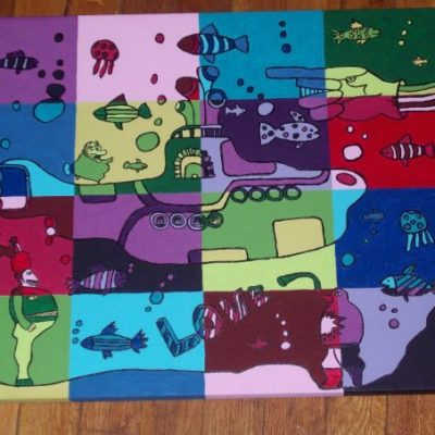 Sea of Warhol:  For a school project, I married Yellow Submarine with an Andy Warhol painting to create a new sea.
