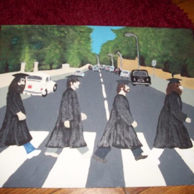 Abbey Road Graduation: I wanted to do a signable picture mat for my graduation party guestbook, so I made this to go in it.